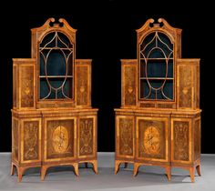 A Pair Of Antique Display Cabinets In The Adam Manner Of Exceptional  Quality Circa 1885
