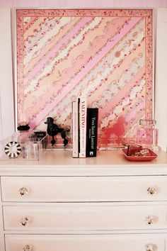 Utilize a second-hand dresser for office supplies, possibly make into file cabinet.