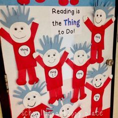 School Is a Happy Place: Five for Friday: Read Across America Rewind (Plus a Free Writing Craftivity) Physical education is the thing to do Preschool Bulletin, Classroom Crafts, Classroom Themes, Classroom Door, Toddler Classroom, Kindergarten Crafts, School Classroom, Dr Seuss Week, Dr Suess