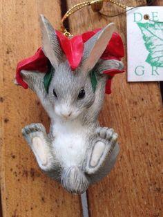 Charming Tails: Binkey's Poinsettia Christmas Ornament Dean Griff Bunny Rabbit - http://collectiblefigurines.net/charming-tails/charming-tails-binkeys-poinsettia-christmas-ornament-dean-griff-bunny-rabbit/