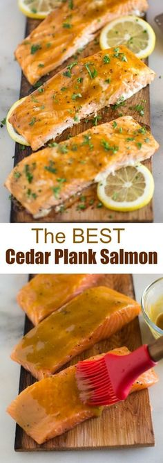 Cedar Plank Salmon with brown sugar and dijon glaze that you can cook on the grill or in the oven. This delicious (and EASY) salmon recipe belongs in a restaurant and is sure to WOW your dinner guests. Delicious Salmon Recipes, Grilled Salmon Recipes, Easy Salmon Recipes, Seafood Recipes, Healthy Recipes, Dinner Recipes, Grilling Recipes, Fish Recipes, Seafood Meals