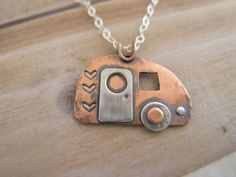 Retro Camper Charm Necklace Lets Go Camping by RadiantJewelStudio