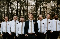 Vintage-Inspired North Carolina Wedding at Windy Hill Farm - Groomsmen Inspo - Casual Wedding, Wedding Men, Wedding Attire, Fall Wedding, Dream Wedding, Mens Wedding Suits Black And White, Black Suit Groom, Black Suit Brown Shoes, Long Sleeve Wedding