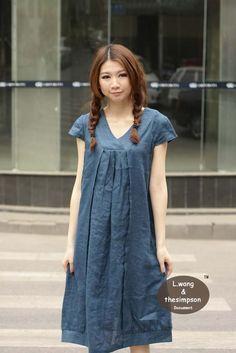 School Clothes pour moi! S'il vous plait. comfortable linen short sleeve sundress(more colour and size choice)-X9. $64.00, via Etsy.