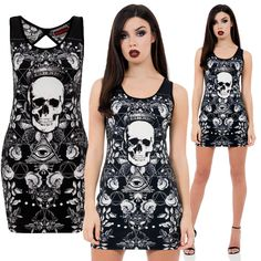 Jawbreaker Gothic Dress, Dark Conspiracy Black Dress with White Design - £24.99 : From ANGEL CLOTHING