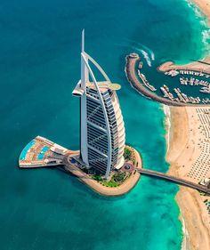 Burj Al Arab 📍 Dubai, United Arab Emirates Photos by Dubai Hotel, Dubai City, Dubai Uae, Dubai Skyscraper, Burj Al Arab, Drone Photography, Travel Photography, Beauty Photography, Vacation Places