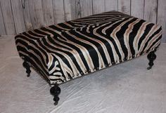 Zebra Print Cowhide Ottoman by 1801FurnitureCo on Etsy