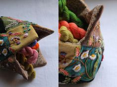2. embroidered patchwork container