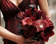 Sub the pink with orange or gold but I also like the dress color that with a gold sash.                                              oxblood viedka dark-red-wedding-bouquets-02
