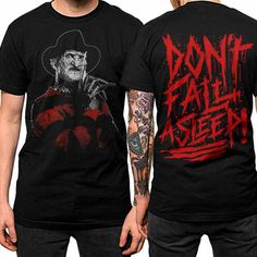 Our limited edition 'Don't Fall Asleep' Freddy Krueger tee! Available in both mens & womens styles.