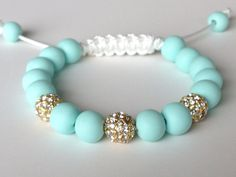 Shamballa Bracelet, Mint Green Polymer Clay Beads, 8mm Gold Plated Crystal Pave Beads on Etsy, $30.00