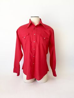 cf7d275f Red Western Shirt / Vintage Western Shirt / 1960s 70's Western Shirt /  Men's XL Western / Fenton Shirt / Pearl Snaps / Christmas Red