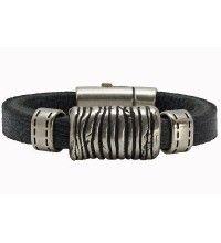 Connecticut zwart - leren armband (Breedte: 1 cm)