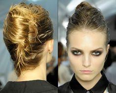2013 Hair: edgy wet look french twist Elegant Hairstyles, Weave Hairstyles, Cool Hairstyles, Wet Look Hair, Hair Looks, Wet Hair, Locks, Hair Expo, Runway Hair
