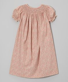 Take a look at this Emily Lacey Coral Floral Bishop Dress - Girls on zulily today!