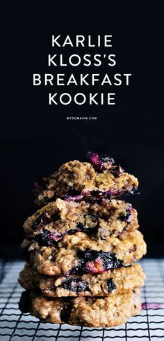 blueberry breakfast cookies- taste like baked oatmeal. Take twice as long to bake. Would be good with sugar on top