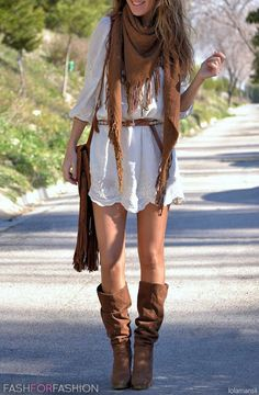 Love the white and brown, but not the bag so much, and the scarf looks too warm for this type of outfit...