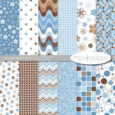 Tegan Baby Boy - Digital Scrapbook Paper Pack  -- INSTANT DOWNLOAD by Moo and Puppy