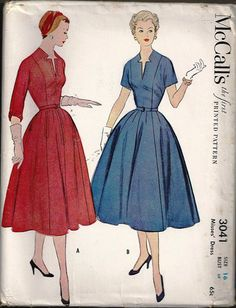Vintage McCalls 3041 Dress Pattern size 16 FREE by SewReallyCute, $15.00