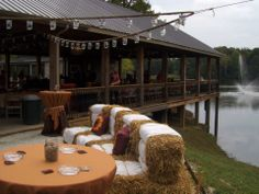 Sheree and Ian Brock had lovely decorations  at their outdoor country wedding at the Carolyn Baldwin Lake Pavilion. www.carolynbaldwinlakepavilion.com