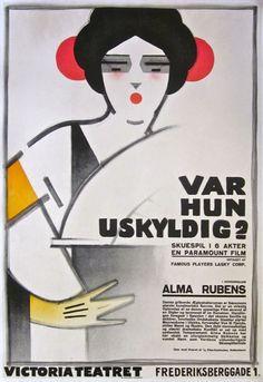 Movie poster by Sven Brasch (1886-1970), 1929, Var Hun Uskyldig? (Is Love Everything?) with Alma Rubens.  (Swedish)