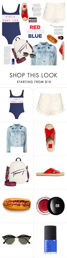 """Red, White & Blue: Celebrate the 4th!"" by little-curly-juli ❤ liked on Polyvore featuring Zoe Karssen, Raey, Givenchy, Tory Burch, Tommy Hilfiger, Edward Bess, Ray-Ban, NARS Cosmetics, Libertine and Marc by Marc Jacobs"