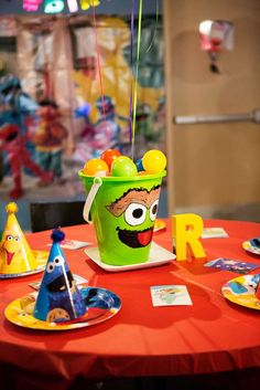 Sesame Street Birthday Party table centerpiece! See more party planning ideas at CatchMyParty.com!