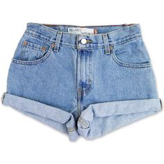 Vintage 90s Levi's Medium Blue Wash High Waisted Rise Cut Offs Cuffed... (£37) ❤ liked on Polyvore featuring shorts, bottoms, pants, short, denim cut-off shorts, vintage high waisted shorts, jean shorts, high waisted jean shorts and high-waisted denim shorts