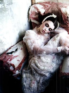 """The Look: The Terrier and Lobster: """"Gleaming Mermaid"""": Astrid Berges-Frisbey in Couture by Ellen von Unwerth for Vogue Italia Couture Supplement Foto Fashion, Fashion Art, Editorial Fashion, Fashion Models, Fashion Beauty, Dark Fashion, Sweet Fashion, Fashion Story, Fashion Images"""