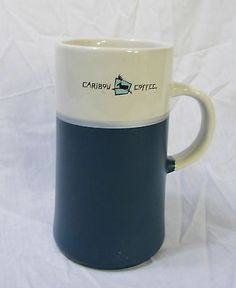 Caribou Coffee Mug Executive Retreat Logo Cup Rare Tall Retired 14-16 oz Green