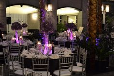 wedding table decorations with dark tablecloths | purple linens, tablecover, tablecloth with silver chiavari chairs with ...