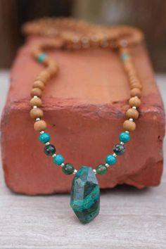 Chrysocolla Sandalwood Mala - Meditation Inspired Yoga Beads / Mala beads BOHO chic