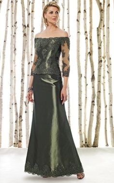 Love this, this color is Moss only other color is Navy   Cameron Blake by Mon Cheri Off the Shoulder Lace MOB Dress 211612 at frenchnovelty.com