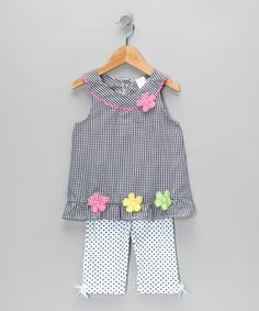 Take a look at this Navy Gingham Flower Tunic & Leggings - Infant & Toddler by Coney Island Kids on #zulily today!