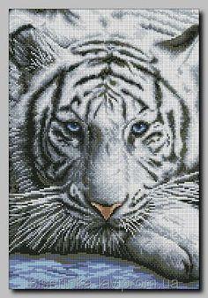 """Схема для полной вышивки бисером """"Белый тигр"""", фото 1"""