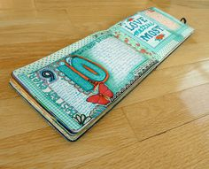 Art Journal inspiration: Happy Reminders.  Love the primary turquoise with a splash of red.