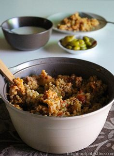 Red Bulgur with Eggplant (Shulbato) – it is made of coarse bulgur, eggplants, tomato and green pepper cooked all together. It's usually served as a side dish, but also can be a good main-dish option especially for vegetarians.