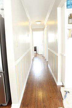 Need any easy DIY design element? Consider adding a board and batten wall to your house! We're knee deep in board and batten hallway progress. Come see how things are looking and see what important tips we've picked up along the way! Hallway Decorating, Entryway Decor, Hallway Walls, Hallway Ideas, Hallways, Wainscoting Hallway, Wall Ideas, Room Ideas, Decor Ideas
