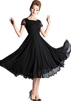 Shineflow Women's Short Sleeve Crew Neck Chiffon Tea Length Midi Party Dress (Medium, Black) Shineflow http://www.amazon.com/dp/B00X5BMUVS/ref=cm_sw_r_pi_dp_-aJWvb0QEWVE7