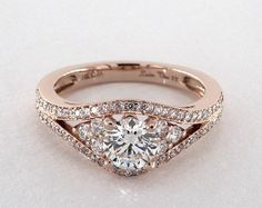 Double Pave Diamond Engagement Ring | 14K Rose Gold | 17408R14 - Mobile