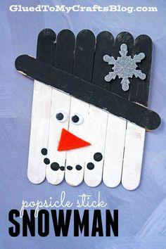 Popsicle Stick Snowman - Winter Themed Kid Craft Idea