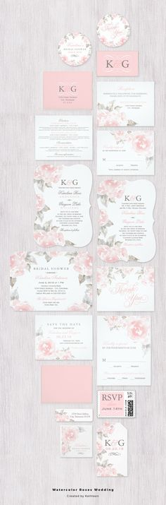Blush pink watercolor roses wedding invitation suite collection | Pink and gray, floral garden botanical wedding
