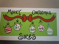 Hand-painted and personalized Christmas canvas for your family. $50.00, via Etsy.
