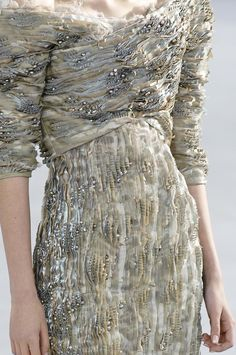 Heavily textured dress with layering of mixed fabrics, beads & micro pleats in tonal colours - fabric manipulation; haute couture details; textiles design // Chanel