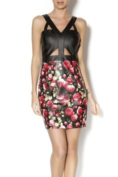 Romantical and edgy pleather dress with cutouts and floral details. Perfect for a night out with a red lip.       Floral Cutout Dress by t.l.b.d.. Clothing - Dresses - Floral Clothing - Dresses - Formal Clothing - Dresses - Night Out Montclair, New Jersey