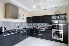 #Kitchen Idea of the Day: Modern Black Kitchens. Pretty good, black
