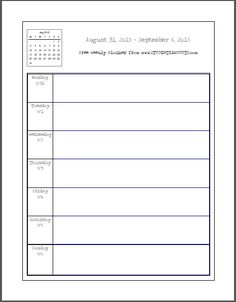 Weekly School Planner 2015-2016 - This academic calendar is free to print. Each week starts on Monday. Large blank spaces to write in.