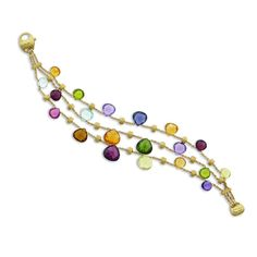 Idea: Hand twist gold wire with gemstones. Ie. this Paradise Elevated Mixed Stone Graduated Three Strand Bracelet