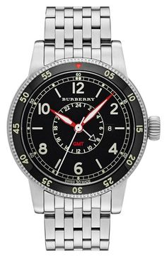 Burberry 'Utilitarian' GMT Bracelet Watch, 42mm available at #Nordstrom