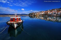 blue, boat, clarity, greece, its_me, messinia, pylos, red, reflections, sea, sky, town, tradition, water